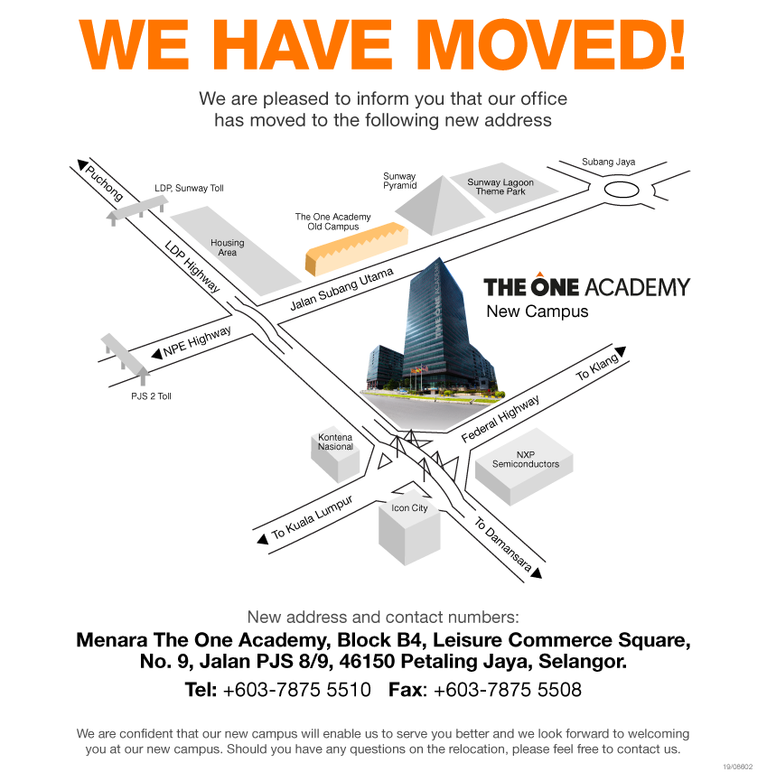 The One Academy Moving Announcement