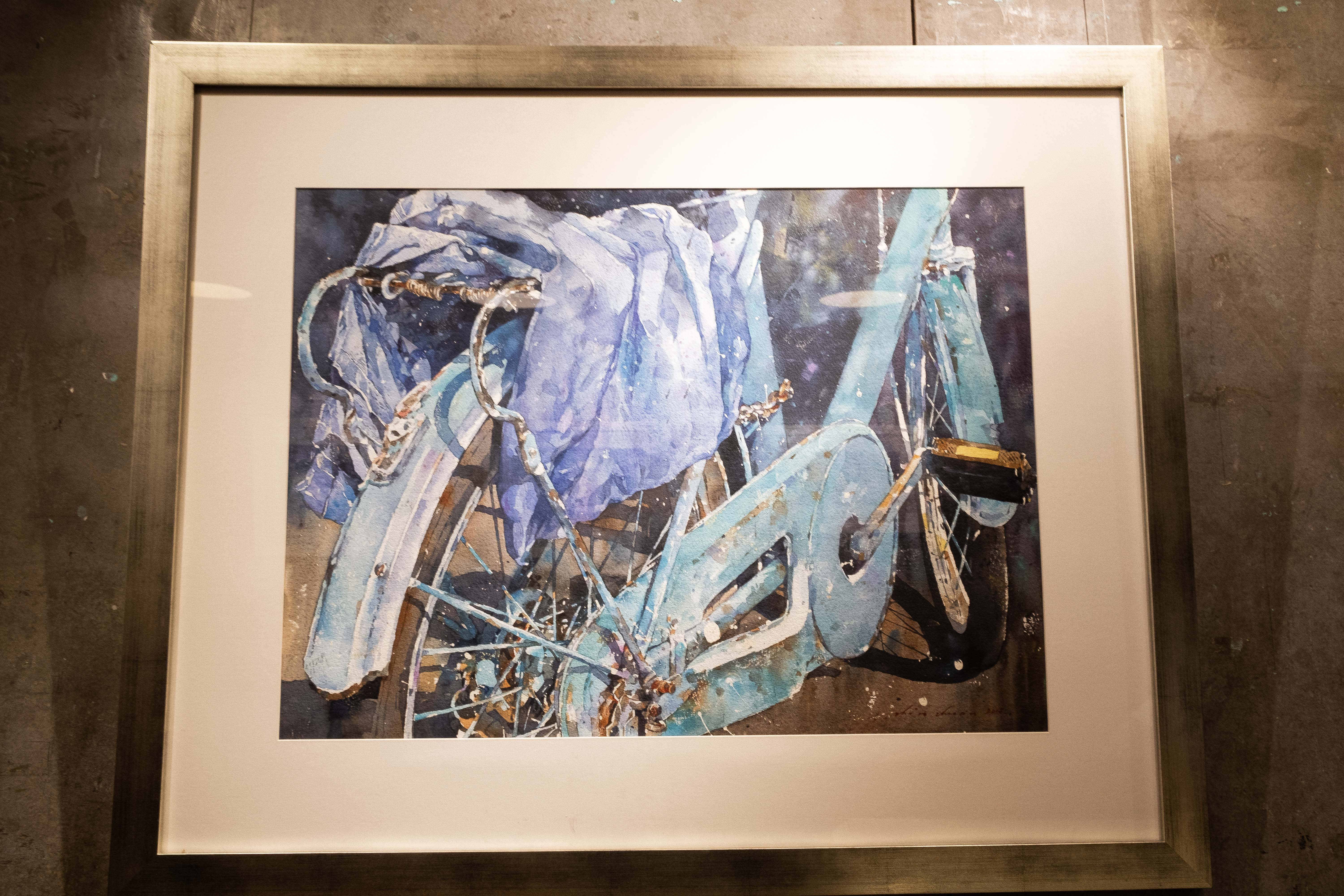 A painting done by Chow Chin Chuan of a bicycle