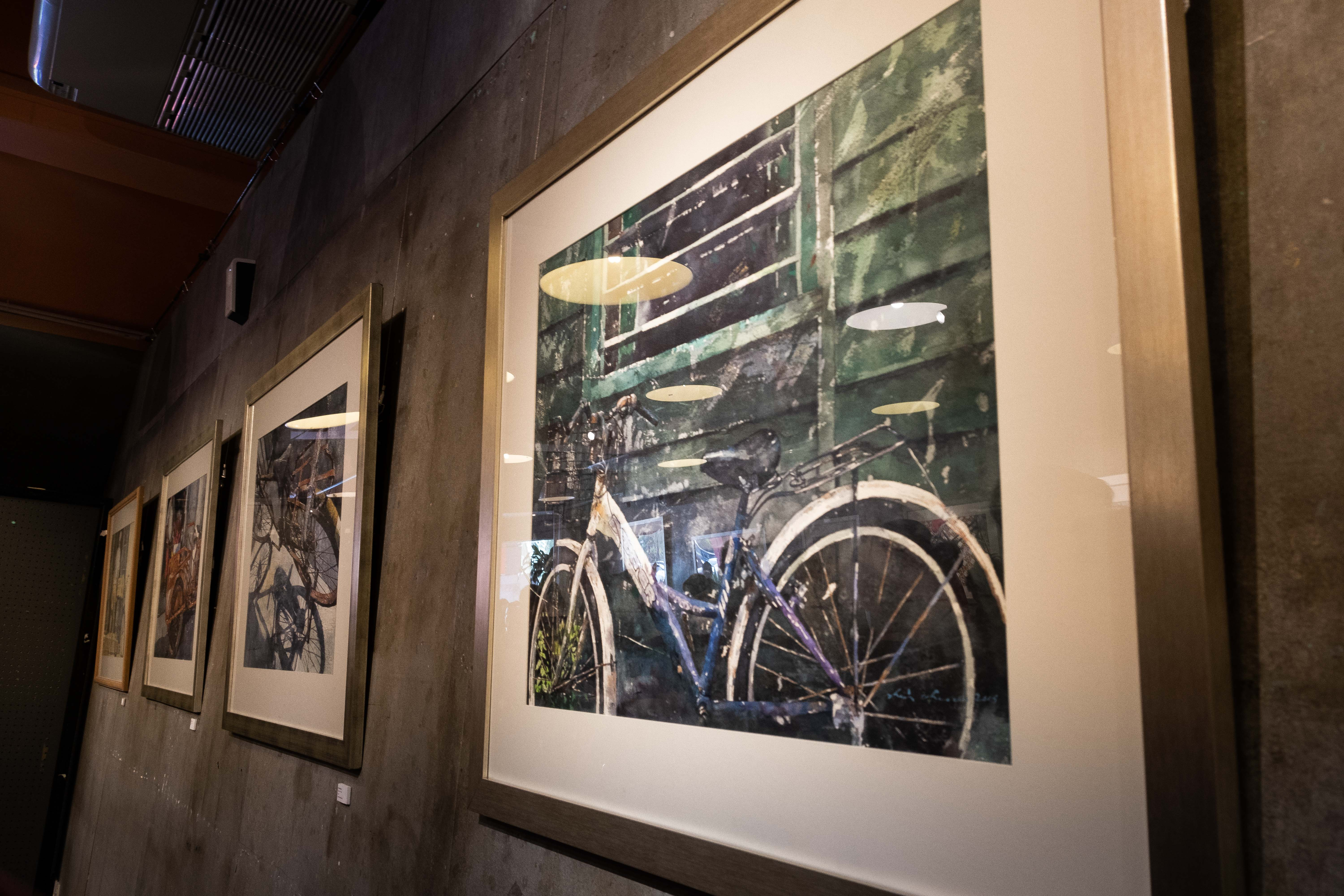 A few pieces on Chow Chin Chuan's favorite subject matter, the bicycle