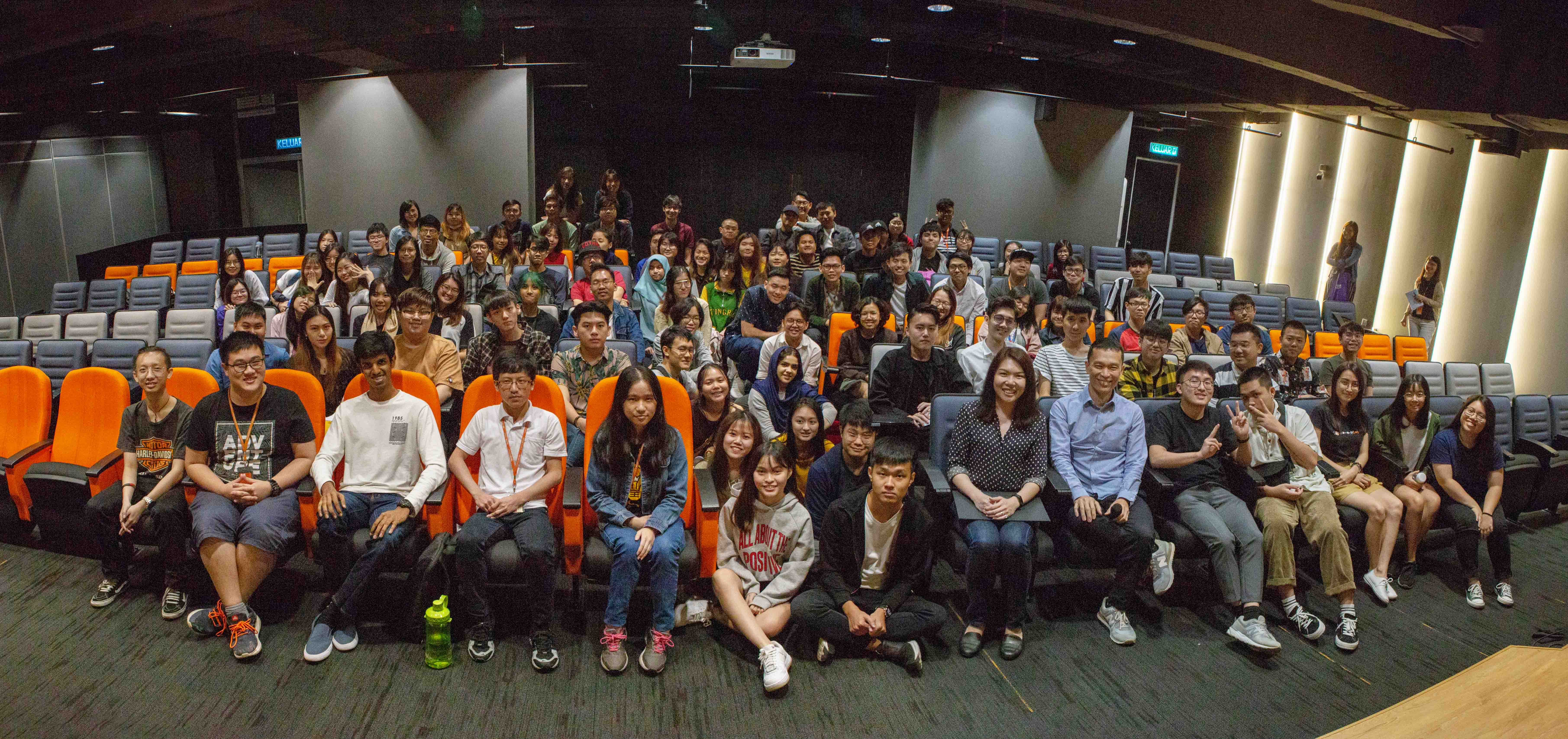 A group photo together with the students of Digital Media Design